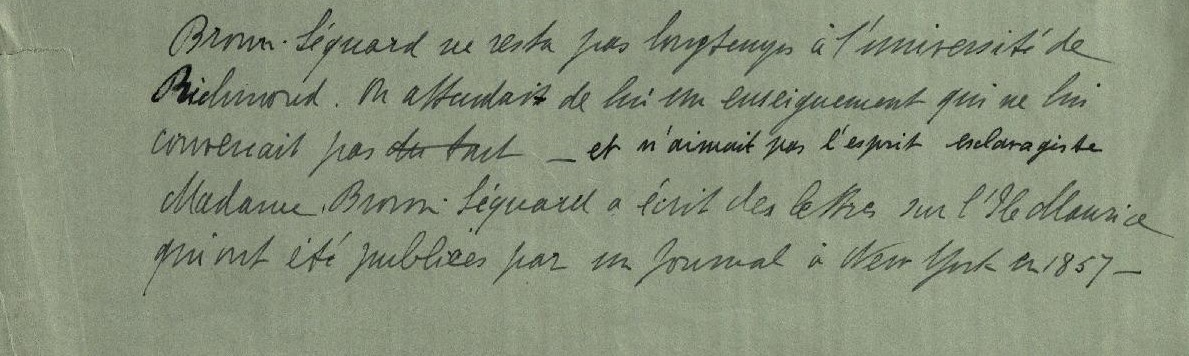 Extract of letter from Ellen Brown-Séquard to her family stating that Édouard did not like the spirit of slavery
