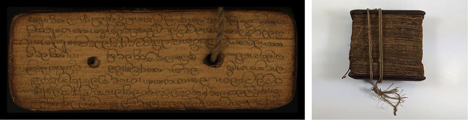 A palm leaf page with Sinhala writing.