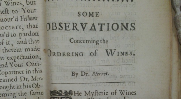 Book observations on wine