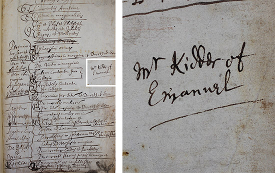 An annotated page, with a close-up of the text 'Mr Kidder of Emanuel'.