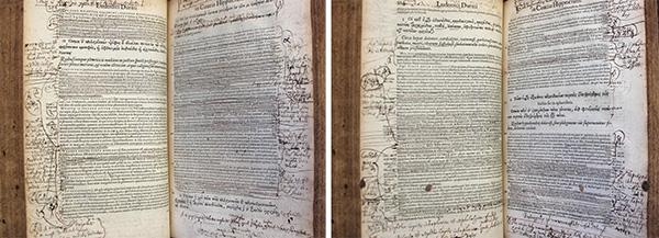 Photographs of two openings in a printed book, heavily annotated by hand in the margins.