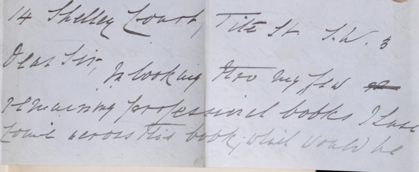 Handwritten note from Henry Seymour Branfoot to the RCP, offering a book for donation.