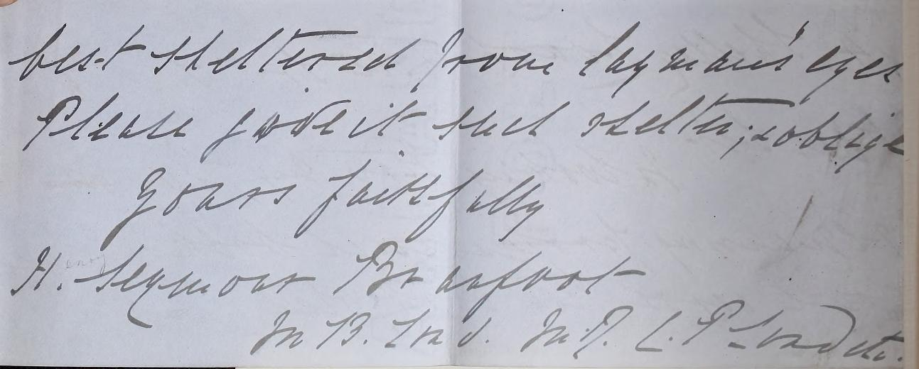 Handwritten note from Henry Seymour Branfoot to the RCP, describing how he wants the book hidden from laymans' eyes.
