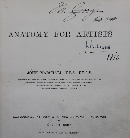 Title page of the book 'Anatomy for artists', with name 'JM Wymer' written in pen.