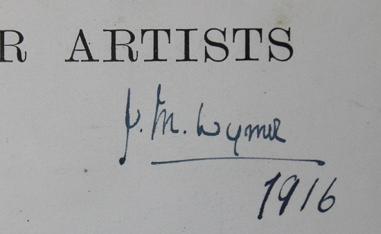 Signature of 'JM Wymer' in blue pen on the title page of a book.