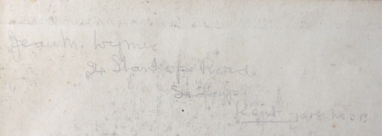 Name and address written in pencil: ' Jean M Wymer, 34 Stanhope Road, Sidcup, Kent, 1918'.