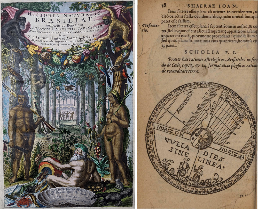 Left: frontispiece of De Medicina Brasiliensi book depicting a Brazilian scene Right: paper of the horizon and sky