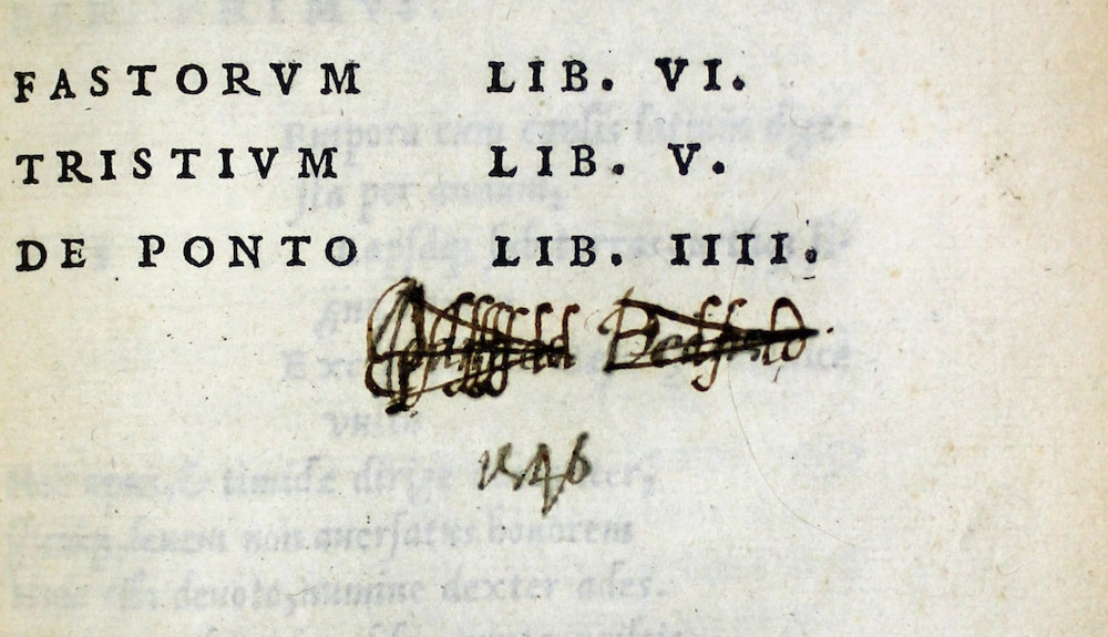 Ovid, Fastorum etc, internal title page Dee signature overwriten by Saunder_0