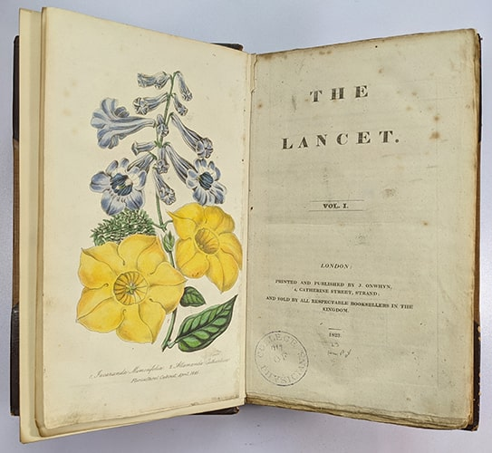 First edition of The Lancet, 1823, open at frontispiece with colour botanical illustration.