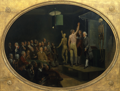 Oil painting of a white man standing on a small stage lecturing to an audience, pointing towards a male model's torso.