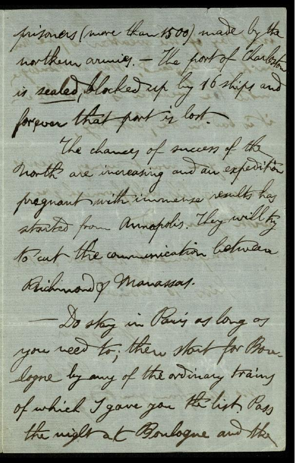 Letter from Brown-Séquard describing the progress of the American Civil War, 1863