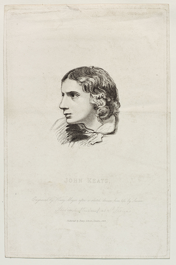 Engraved drawing of John Keats.