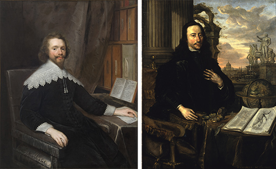 Two portraits of seated white men. One has a bookshelf behind him. The other has numerous scientific objects laid out on a table next to him.