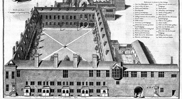 Illustration of Gresham College in The lives of the professors of Gresham College. John Ward, published London, 1740. Wellcome Library, London.