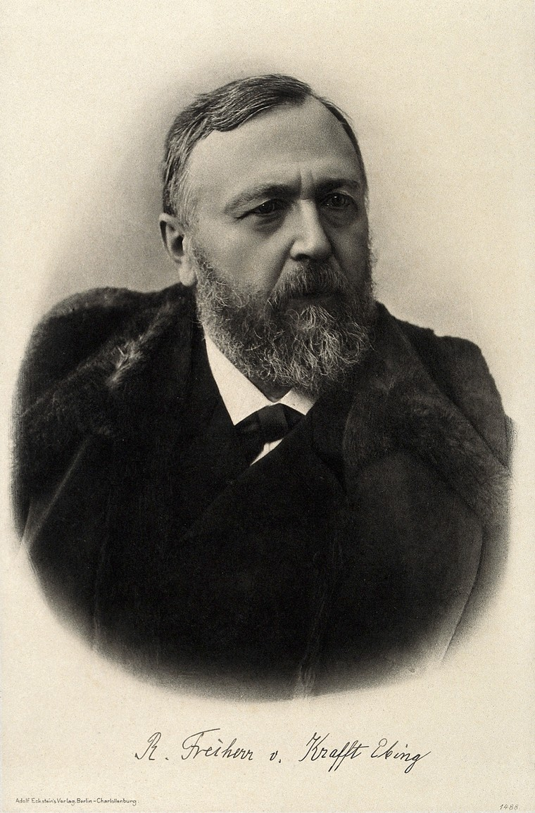 Photogravure portrait of Richard von Krafft-Ebing. Image courtesy of Wellcome Collection.