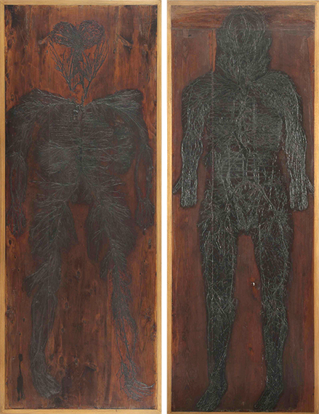 Outlines of human arteries and veins on a wooden background.