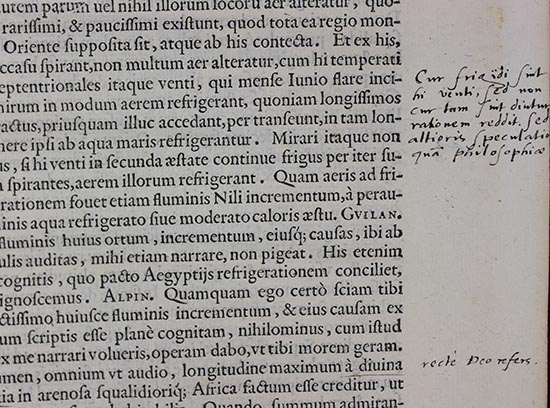 Photograph of Latin text with annotation in Latin in 16th-century handwriting.