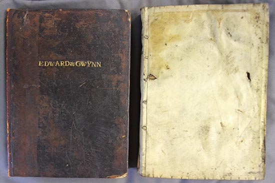 One dark brown leather-bound book stamped with the name 'Edward Gwynn', one book bound in pale vellum.