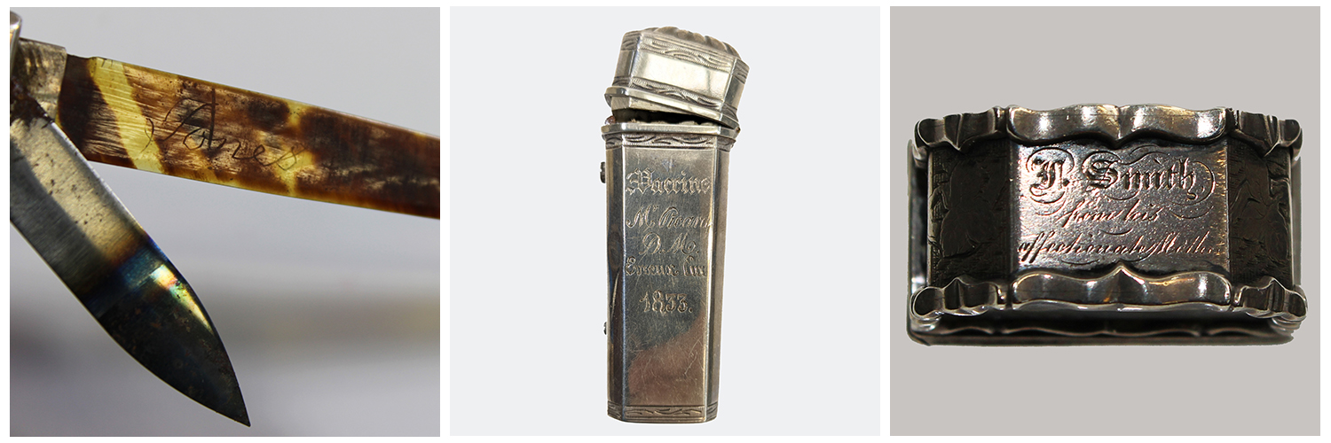 Close up image of a blade and a tortoiseshell lancet sleeve with 'Jones' scratched into it. Silver lancet case, inscribed with Vaccine Mr Picara, D.M. Euceux Eur. 1833. Top view of silver and agate lancet case engraved 'F. Smith from his affectionate Mother'