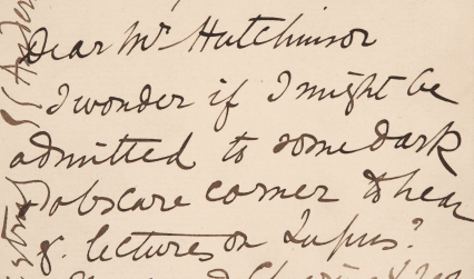 Letter from Elizabeth Anderson to Mr Hutchinson asking permission to attend his lectures on lupus at the Harveian Society, 1887