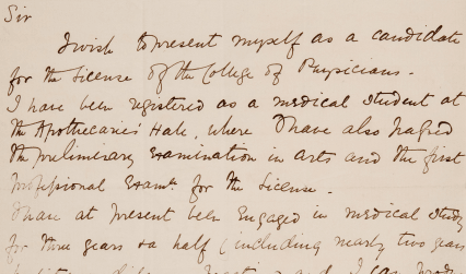 Application by Elizabeth Garrett for LRCP in form of Autograph letter to the President (Sir Thomas Watson) presenting herself as candidate for the Licence, 1864