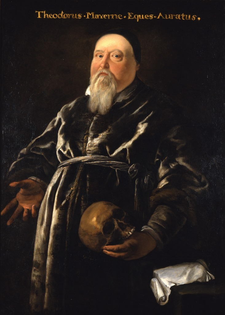 Portrait of a fat white man with a white beard, wearing a skull cap and a velvet dressing gown and holding a human skull.