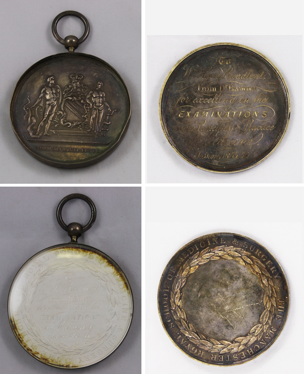 Two of the medals awarded to William Broadbent for excelling in the examinations of the Royal Manchester School of Medicine and Surgery - Chemistry (1855) and Principle and Practice of Medicine (1857)
