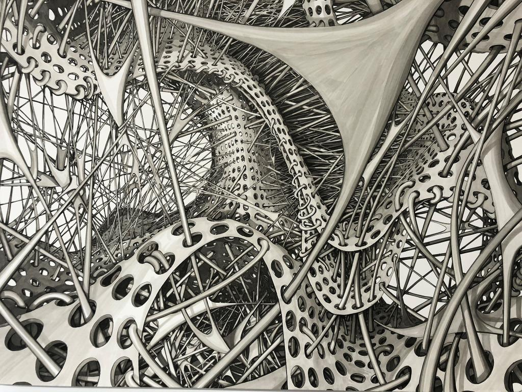 Drawing in grey ink of curving and bending lattice structures.