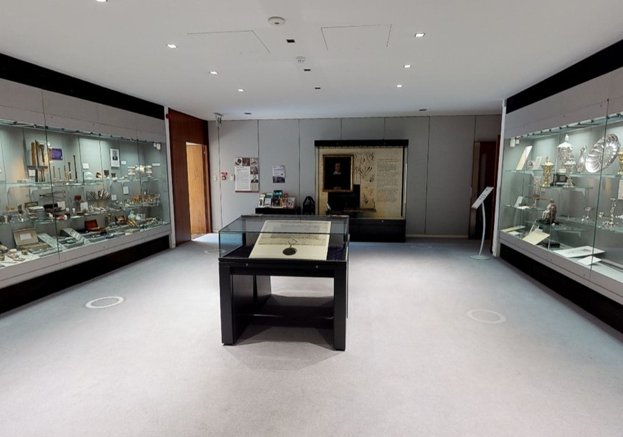View of the Treasures room display cases as seen in the virtual tour