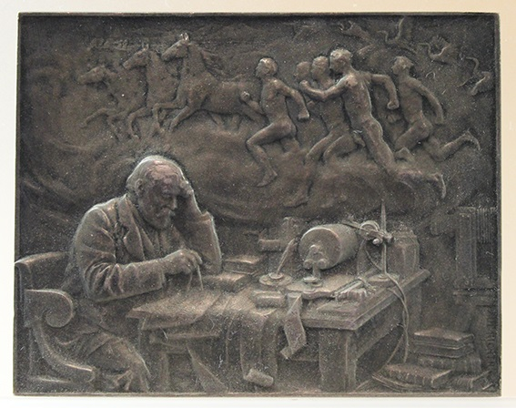 Plaquette showing Étienne-Jules Marey at work