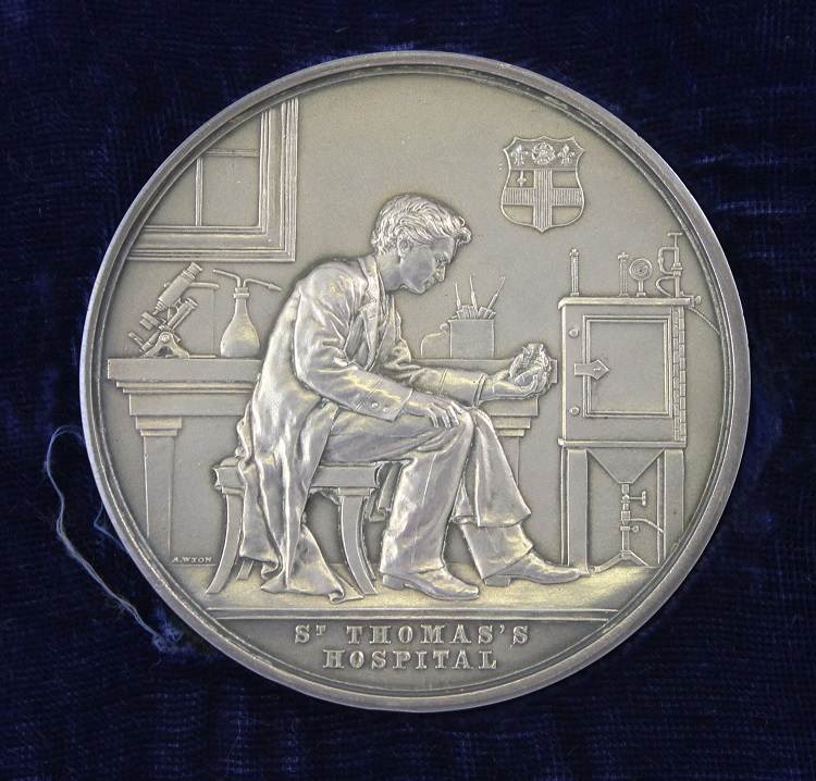 The Richard Mead medal depicting a medical student in a laboratory