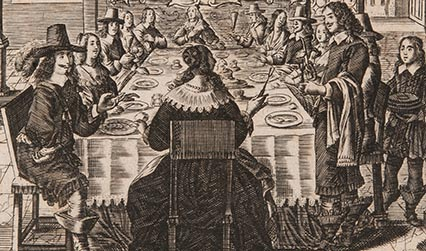 Engraved illustration showing a formal meal around a large table. People are wearing 17th dress.