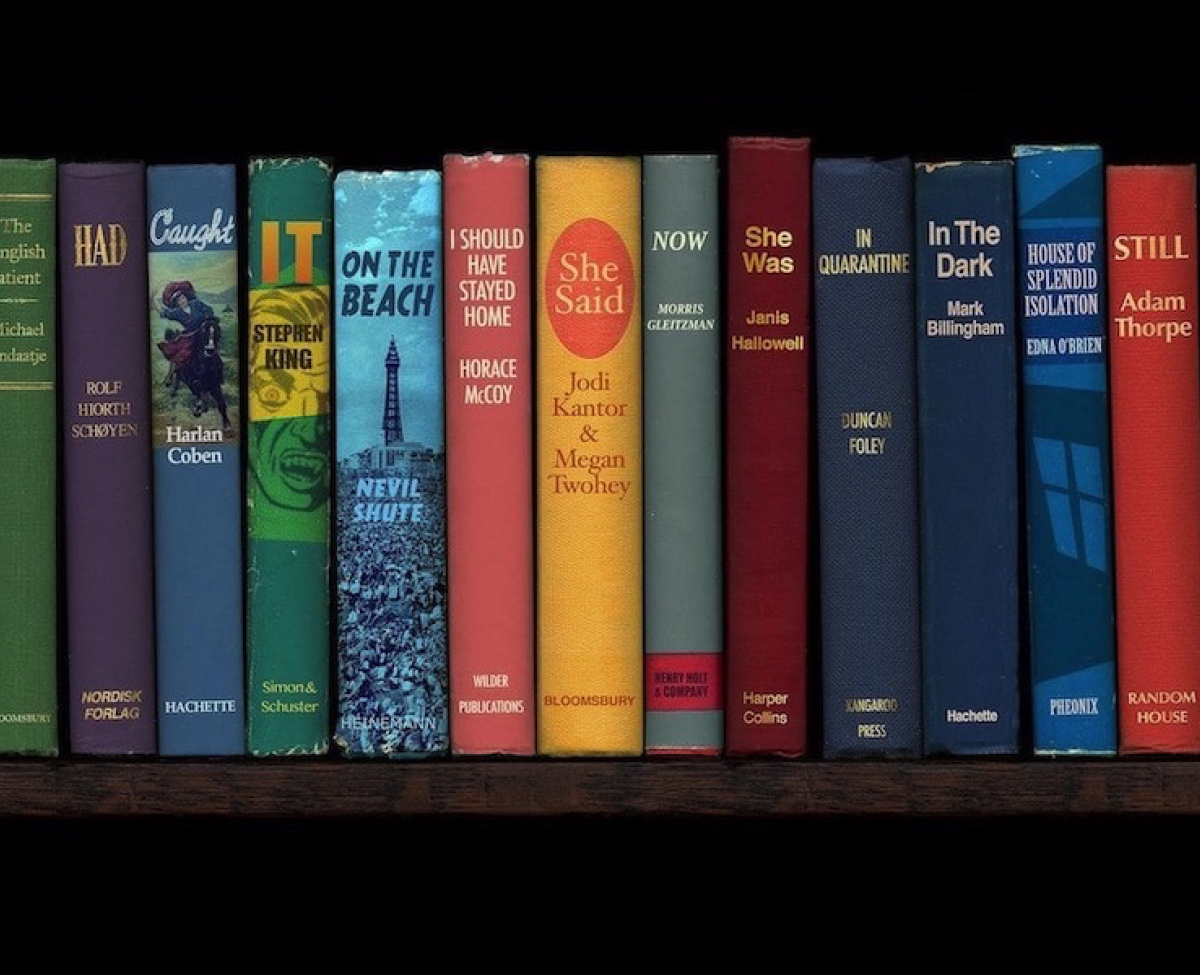 A row of brightly coloured books