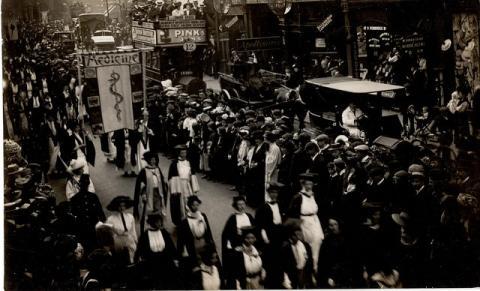 Suffragette procession showing the delegation of women doctors, 1910