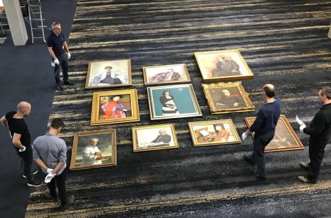 Bird's eye view: arranging the portraits to get the final measurements and spacing