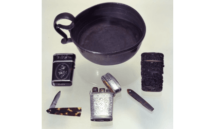 Objects from the Symons Collection - bleeding bowl and lancet cases