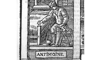 Woodcut illustration of a man being sick