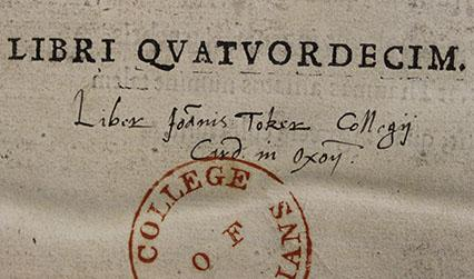 John Toker's ownership inscription