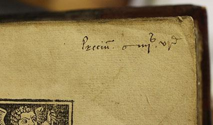 Price inscription on a book