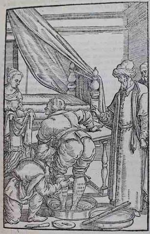 Woodcut illustratino of a man having blood taken from his legs by a man wearing a turban.