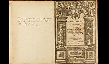 Photograph of the woodcut title page of the Pharmacopoeia Londinensis