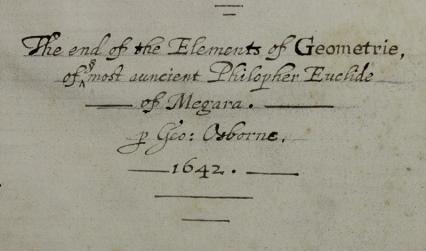 Inscription by George Osborne dated 1642