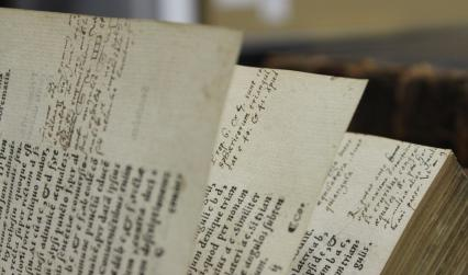 Handwritten annotations on the edges of pages
