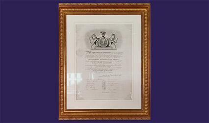 Photograph of framed certificate
