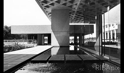 Black and white photograph of a modernist building