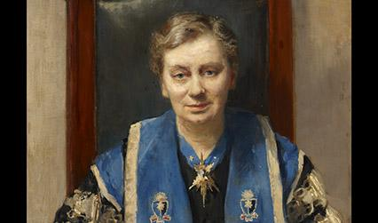 Oil painting of a white woman in a blue ceremonial robe