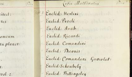 Handwritten list of editions of Euclid