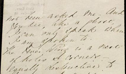 Handwritten letter including the phrase 'like a ghost, I can only speak when I am spoken to'