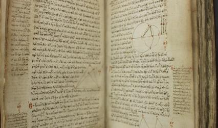 Photograph of a Greek manuscript with mathematical diagrams