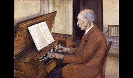 Painting of a white man seated playing a keyboard instrument